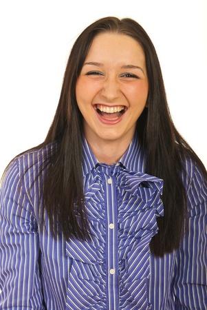 Femme d'affaires en riant aux éclats isolé sur fond blanc Banque d'images