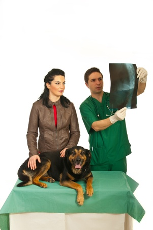 Woman with veterinary man looking over dog X-ray image in his office against white background photo