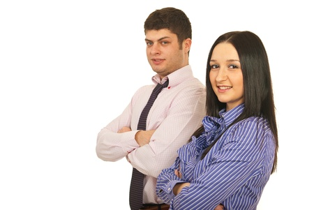 folded hands: Young business team of two people standing with arms folded isolated on white background Stock Photo