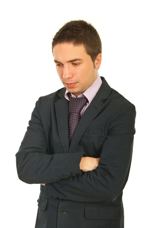 Sad thinking business man looking down isolated on white background Stock Photo - 12595926