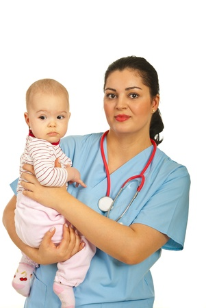 Pediatrician woman holding baby girl isolated on white background