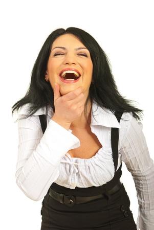 Hardop lachen zakelijke vrouw die haar kin op een witte achtergrond Stockfoto