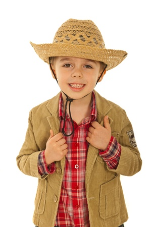 Happy fashion model kid wearing jacket ad cowboy hat isolated on white background photo