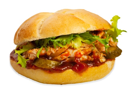 Chicken sandwich with salad and sause isolated on white background Stock Photo - 12596712
