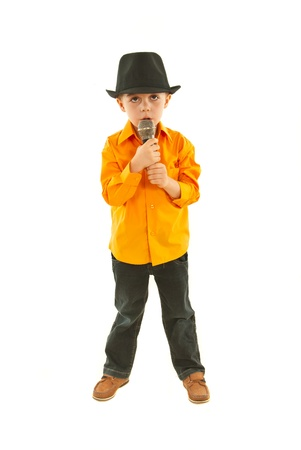 Full length of singer little boy isolated on white background