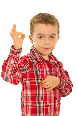 Little boy showing okay sign hand gesture isolated on white background Stock Photo - 12596762