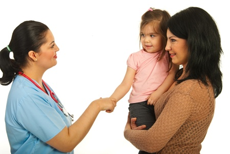Acquaintance doctor with toddler girl and her mother isolated onw hite background photo
