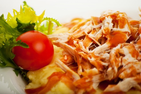 Close up of puree with chicken decorated with tomato and salad Stock Photo - 12596820