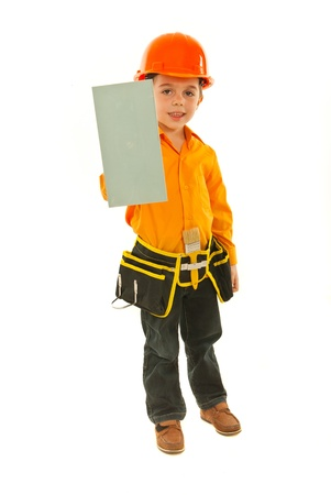 notched: Builder boy holding notched isolated on white background