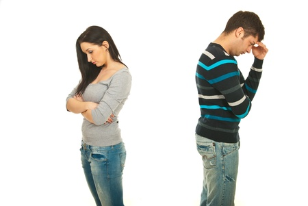 to argue: Sad couple having conflict isolated onw hite background