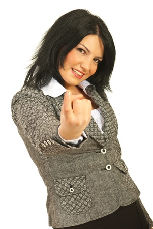 come on: Business woman gesture with finger to come to her isolated on white background Stock Photo