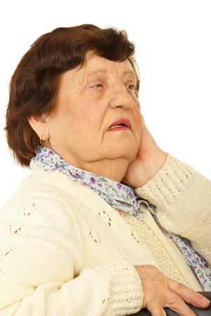 Worried grandma looking away isolated on white background photo