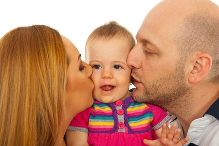 bald girl: Mother and father kissing together thier baby girl isolated on white background