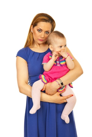 Beauty blond mother with blue eyes holding baby girl in her arms isolated on white background Stock Photo - 13044894