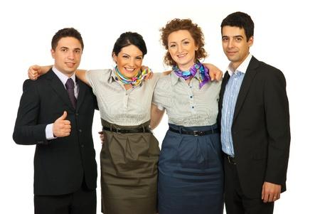 Grupo Unido de la gente de negocios alegre de pie en el abrazo aisladas sobre fondo blanco