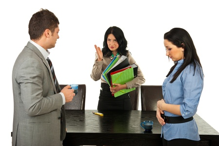 dismiss: Furious manager woman argue employees for taking coffee break to long and send them to work  Stock Photo