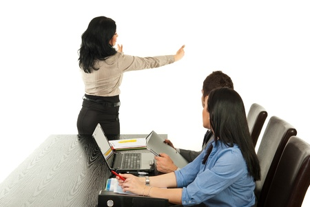 Business woman presentation on blank board at meeting Stock Photo - 13105573