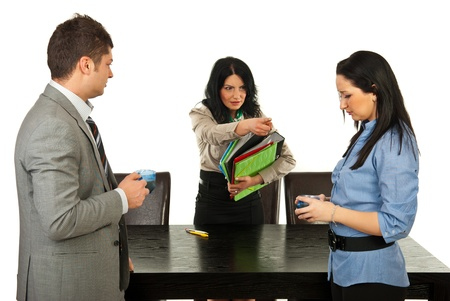 dismiss: Furious manager dismiss business woman in coffee break