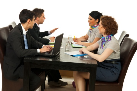 four person: Associates having conversation at meeting over white background