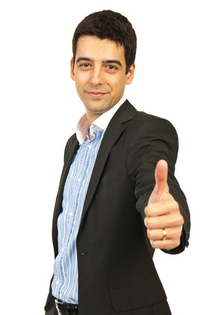 Happy busienss man giving thumb up isolated on white background photo