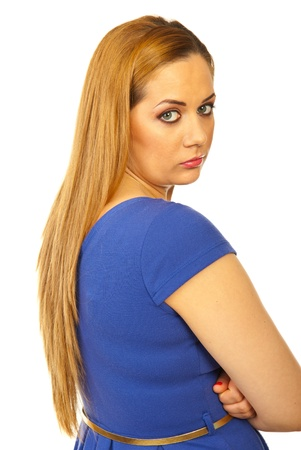 Sad blond woman looking back over shoulder isolated on white background photo