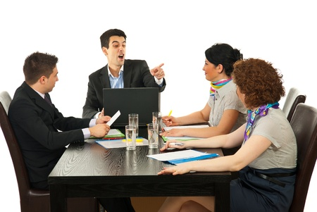 people arguing: Manager argue one of employees at meeting