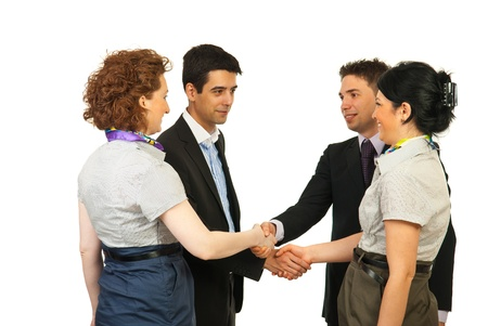 acquaintance: Meeting business people making acquaintance isolated on white background