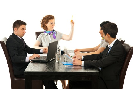 Manager woman raising hand to oindicate someone at meeting  Stock Photo - 13367344