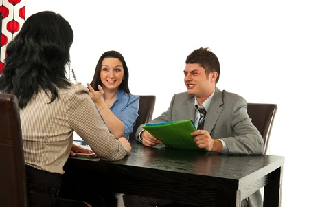 Two people having interview with manager woman in office Stock Photo - 13367288