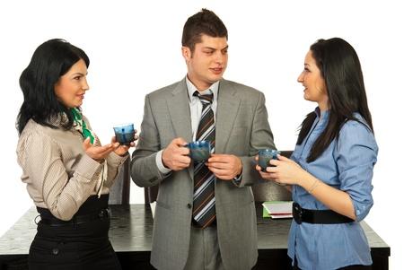 Business people having conversation at coffee break  photo