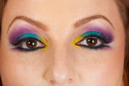 Detail of woman eyes with colorful makeup  photo