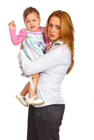 Uitgeput moeder Zakenvrouw bedrijf huilen meisje geïsoleerd op witte achtergrond