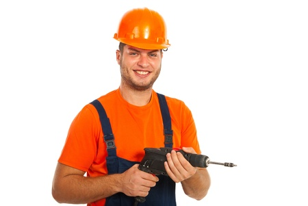 driller: Happy driller man holding drill isolated on white background