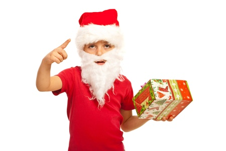 Small Santa Claus boy indicate with his finger isolated on white background Stock Photo - 16300596