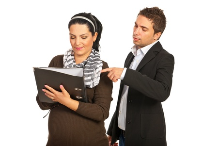 Manager boss telling to his pregnant assistant woman to write something isolated on white background photo
