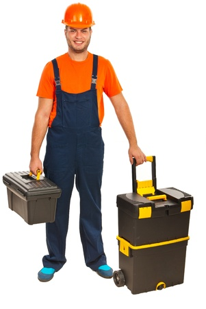 Fulllength of happy craftsman with tool boxes isolated on  white background photo