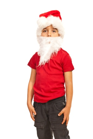 Boy dressed in Santa claus with hat and beard isolated on white background Stock Photo - 16374621