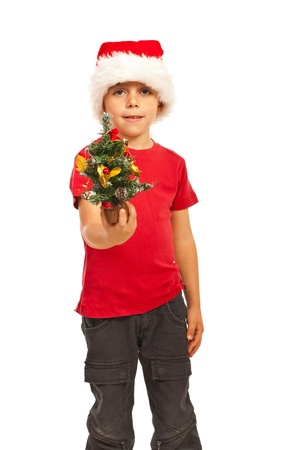 Small boy with Santa hat giving miniature Christmas gift isolated on white background Stock Photo - 16374620