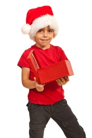 Child boy holding Christmas open gift isolated on white background Stock Photo - 16436651