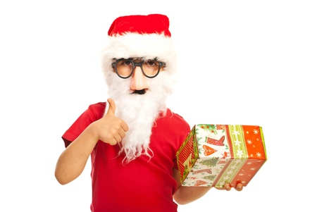 Successful Santa kid boy with mask and beard isolated on white background Stock Photo - 16436676