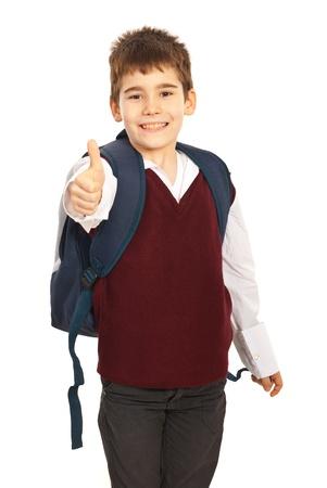 Succesvolle scholen geven duim omhoog geïsoleerd op witte achtergrond Stockfoto