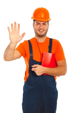 Happy worker with clipboard showing fve fingers isolated on white background photo