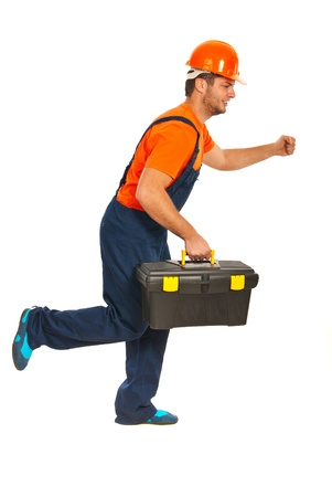 workmen: Running builder workman with tool box isolated on white background