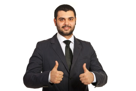 Happy business man giving thumbs up with both hands isolated on white background photo