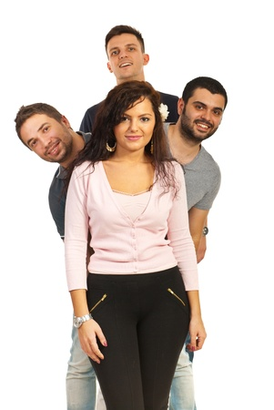 Happy four friends with woman in front of three guys isolated on white background Stock Photo - 16848721
