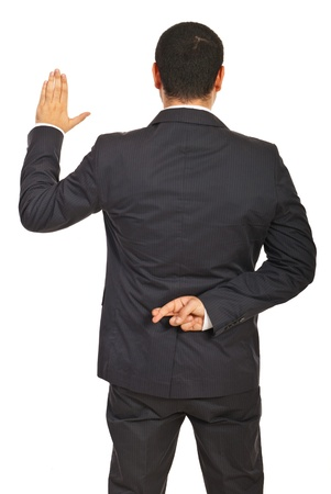 swearing: Back of executive man liar swearing false isolated on white background