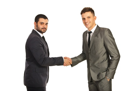 Happy two business men giving hand shake isolated on white background Stock Photo - 16880927