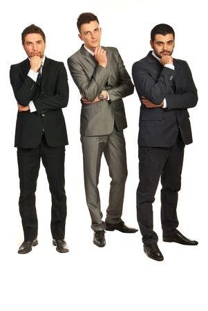 Full length of three business men with problems isolated on white background Stock Photo - 16966096