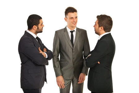 Discussion of three business men isolated on white background Stock Photo - 17034172
