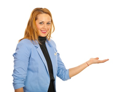 Executive woman making presentation isolated on white background Stock Photo - 17034209